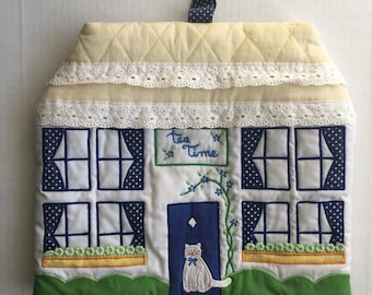 """Vintage Cozy Country Kitchen Home Decor with Cat """"Tea Time"""" Appliance Toaster Teapot Cover Oven Mitt Glove with Eyelet Trim"""
