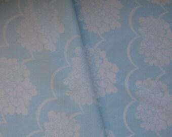 Vintage Sheet Fat Quarter, Vintage Bed Linen, Soft Blue Fabric, Floral Fabric, Baby Blue Fabric, 60s Fabric, Bold Flowers, Vintage Bed Sheet