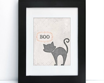 Boo Cat - Halloween - Digital Printable Art - Home Decor - 8x10 - Instant Download