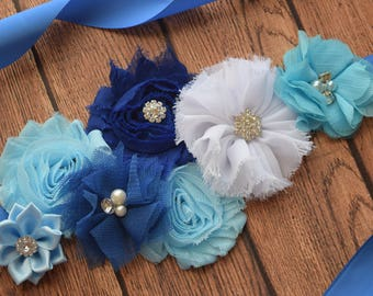 Blue navy and white Sash , flower Belt, maternity sash, wedding sash, flower girl sash, maternity sash belt