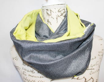 Grey & Lemon Infinity scarf with Hidden Pocket. Travel scarf, Phone Pocket Scarf, Passport Scarf Secret Pocket Scarf