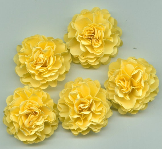 Bright Pastel Yellow Carnation Paper Flowers Embellishments From Crazy2becrazy On Etsy Studio