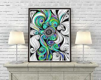 Zentangle Mandala Tribal Trippy Art wall Decor, Instant Download, Hypnotic Art Drawing, Psytrance Art, healing Energy Art, Living Room Art