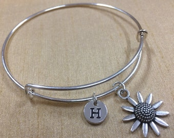 KIDS SIZE - Sunflower charm bracelet, flower jewelry, gardener bracelet, silver sunflower bracelet, gift for gardener, sunflower bracelet