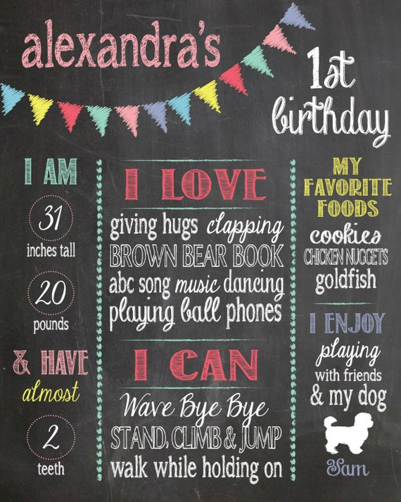 Chalkboard Sign, First Birthday Poster, 1st Birthday Sign, Digital File, Printable, Photography Prop, Girl