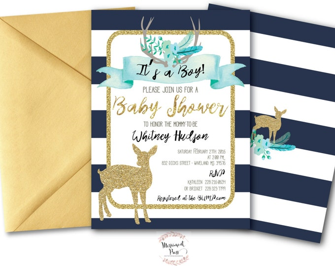 It's a Boy Baby Shower Invitation // Oh Deer // Fawn Invitation // Boy // Blue // Navy // Woodland // Gold Glitter // OXFORD COLLECTION