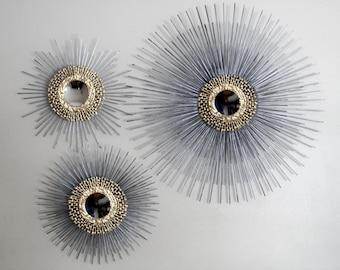 Private Listing for Krista: Sunburst Mirror Trio (1) 27inch (2) 16 inch,  SILVER CENTER