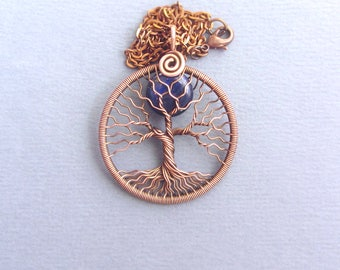 Tree-of-life-pendant Full-moon necklace copper wire and navy blue Lapis lazuli Nature pendant September birthstone Christmas gift for her