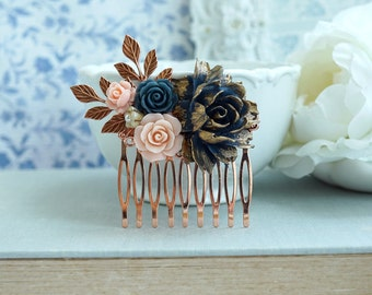 Rose Gold Comb Navy Blue Flower Hair Comb Gold Blue Pink Rose Gold Leaf Hair Comb Navy Blue Pink Wedding Something Blue Wedding Bridal Comb