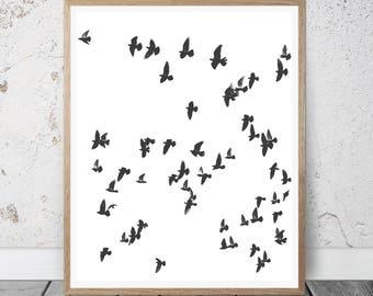 Birds Print, Printable Photo, birds abstract,Flying Birds Print, Flock Of Birds Wall Art, Minimalist Decor, Black And White Photo, Sea Print