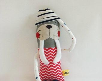 Mini cuddler walrus with hood| Handmade creature| Plush toy| Kids toy| Birthday Gift/ Baby shower gift/ Nursery decor/Walrus toy/