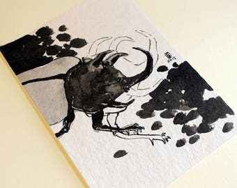 Rhino - original ink painting