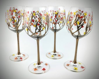 Fall leaf painted wine glasses, autumn wine glasses, wine glasses for Thanksgiving, fall wine glass set