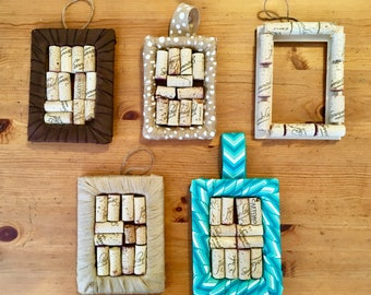 Cork frames, fabric frames, post it reminders, corks, art by carole, art by carole store, frames, cork art, hanging frames, gifts, decor