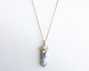 White Marble Necklace, Gemstone pendant necklace, White Howlite Necklace, Gold Minimal jewelry, Gemini necklace, jewellery Australia