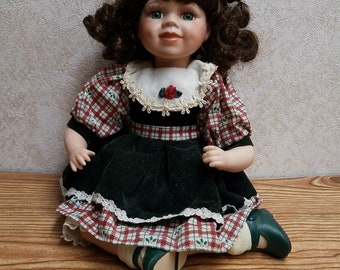 Beautiful Brunette Girl Porcelain Doll