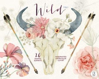 Watercolor floral bull skull, horn, peony, roses, dahlia, arrows, tribal, wild, boho clipart, wedding flowers, bohemian, wild, tribe, VOL. 1