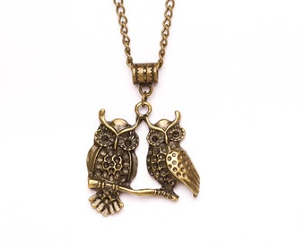 Owl Necklace | Bronze Double Owl Charm Necklace | Owl Jewellery | Gift Boxed Necklace