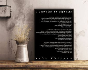 Framed Art - Large Poem Art O Captain Print, Walt Whitman Literary Poster, literary quote print, motivational poster, Leaves of Grass