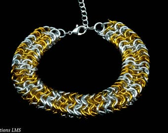 Gold and Silver Chainmail Bracelet