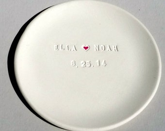 Wedding Ring Dish Personalized -  Names and Date - Custom Favor Memento Bridal Shower Gift Ring Dish