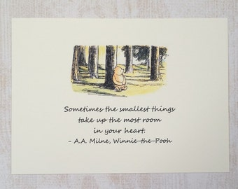 The Smallest Things - Winnie the Pooh Quote - Classic Pooh 5x7 Nursery Print