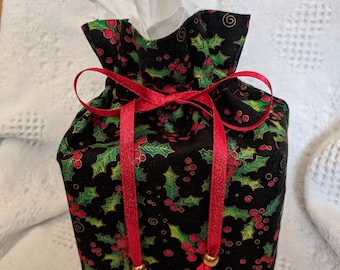 Tissue box cover, drawstring, boutique, Christmas