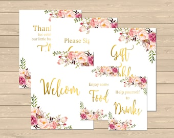 Gold Floral Boho Baby Shower Printable Signs, Boho Shower Decor, Floral Boho Table Signs, Set of 6, Gold Boho Signs, Instant Download, 025-G