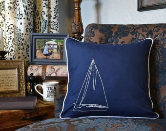 Sailboat Pillow Cover Hand Embroidery Nautical Design Beach House Decor Wanderlust Pillow Embroider Ship Cottage Decor Accent Pillow