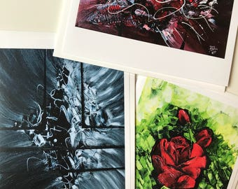 Set of 3 Blank Greeting Cards with Envelopes - From Original Art: Crustacean-TimeWarp-The Rose ~~ Don Mathis Artist