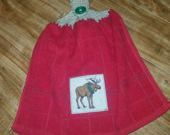 1 Crocheted Top Towel with Moose - Perfect for Country Home, Cabin Decor