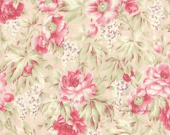Rose Fabric, Moda 3 Sisters Favorites 3768 12 Ballet Slipper, Cottage Chic Fabric, Pink Roses Quilt Fabric, Shabby Floral Fabric, Cotton