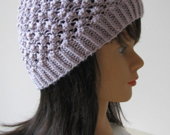 Knitted Hat, Spring Hat - 'Nina' Hand Knit Cotton Hat - Mauve