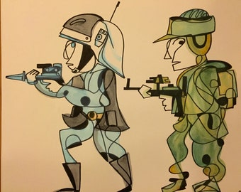 Rebel Troopers -14 x 17 ink and watercolor piece