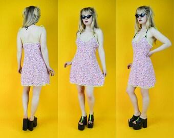 90s Pink Floral Babydoll Mini Dress M / L