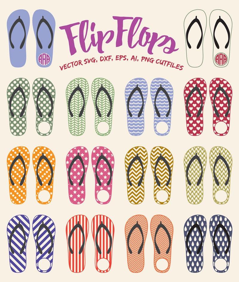 Flip Flop SVG Monogram frame, Flip Flops Monogram SVG, Monogram Flip ...
