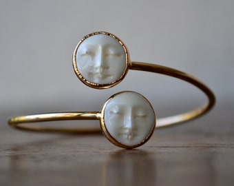 MAN In The MOON Bracelet /// Moon Face Bracelet