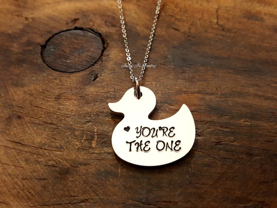 You\'re The One Necklace Rubber Duck Handstamped Necklace