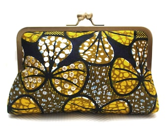 Clutch, Clutch bag, Evening clutch,  Embellised print bag, Ankara clutch bag, Yellow Petals Clutch, Colourful clutch purse, Floral bag