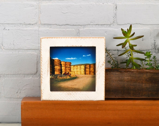 5x5 inch Square Picture Frame in 1x1 Roughsawn Poplar with Vintage White Finish - IN STOCK - Same Day Shipping - 5 x 5 Photo Frame Off White