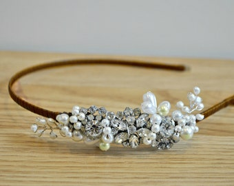 Wedding headband vintage bridal  side headress diamante pearl wedding bride