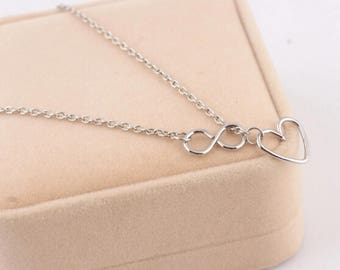 silver Infinity Heart Necklace, infinity necklace, infinity pendant, heart necklace, necklace, silver necklace, jewelry, heart, best price!