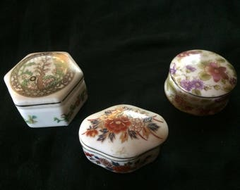 Vintage Set of Three Trinket Boxes, Pill Boxes, Made of Porcelain - 1970