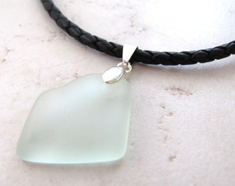 Sea Glass Necklace, Seaglass Nekclace, Mens Necklace, Mans Necklace, Leather Necklace, Surfer Necklace