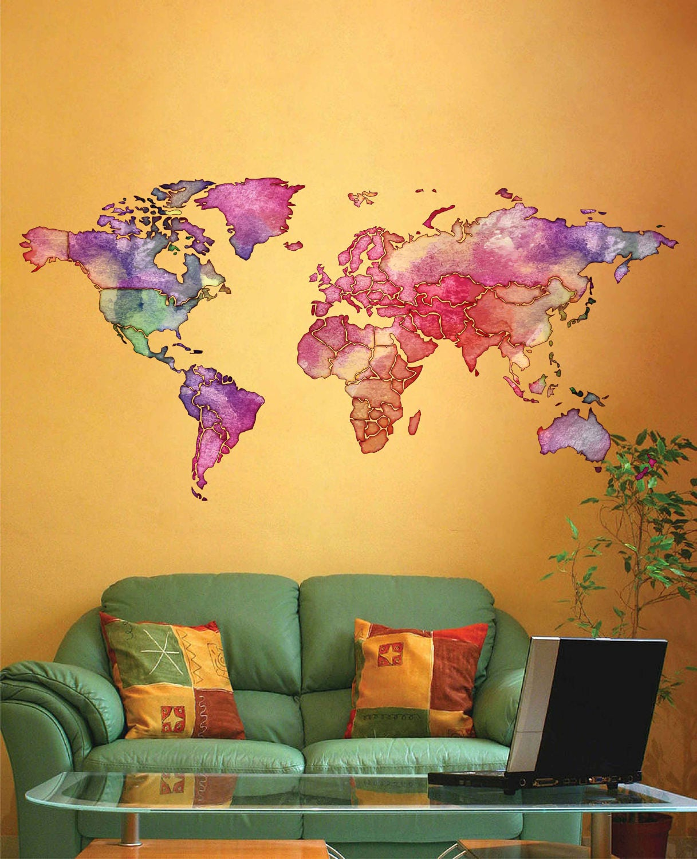 cik1805 Full Color Wall decal Watercolor World map Living room