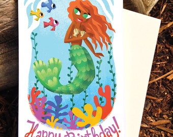Mermaid Birthday Card, Happy Birthday Mermaid Card, Mermaid Stationery, Happy Birthday