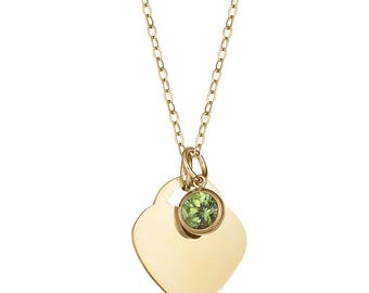 Genuine Peridot Necklace Gold, Personalized Gold Heart Birthstone Necklace,Mothers Day Gift, Birthday Gift, Bridesmaid Gift, Sada Jewels