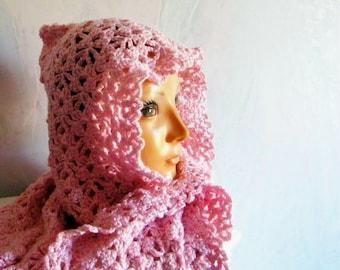 Pink Hoodie Scarf, Hooded Scarves, Long Hood Scarf, Winter Scarf, Scarves for Women, Hood Scarf, Womens Hoodie Scarf, Gift Ideas