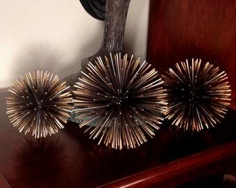 SALE! Set of 3 mid century modern, C. Jere', Curtis Jere', Artisan House vintage black & bronze metal urchin starburst sculptures