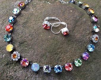 Swarovski multi colored necklace/earrings